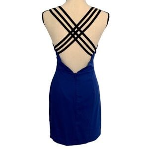 may & july cocktail dress M blue strappy